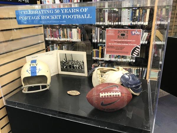Portage Rockets Football library display
